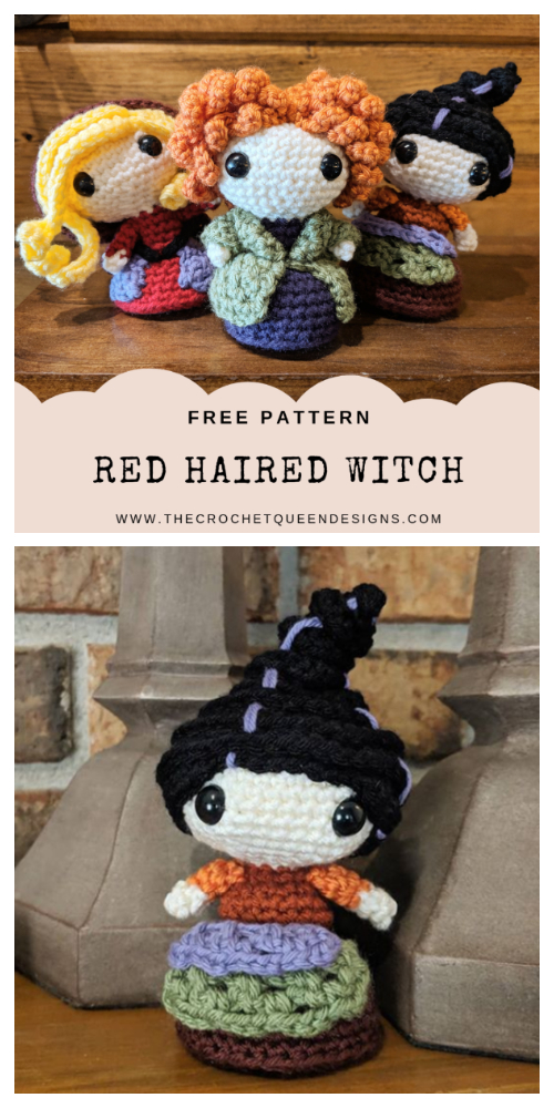Halloween Crochet Witch Doll Amigurumi Free Patterns