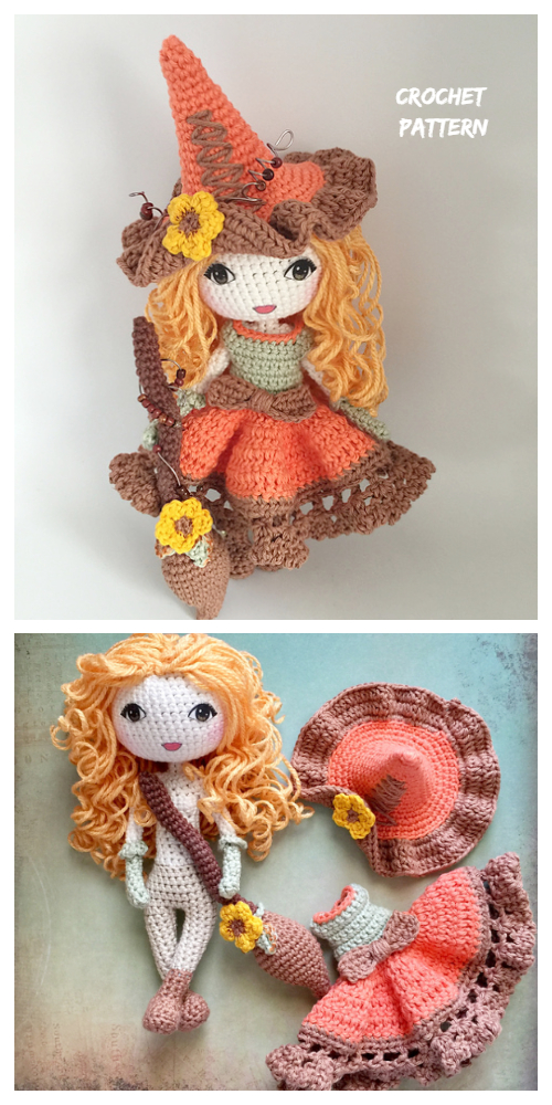 Halloween Crochet Witch Doll Amigurumi Patterns