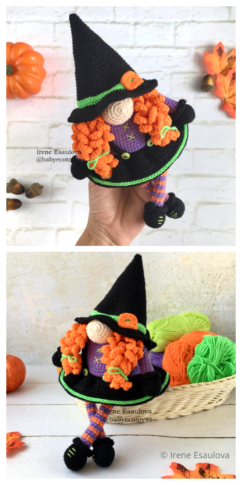 Halloween Crochet Halloween Gnome Witch Amigurumi Patterns