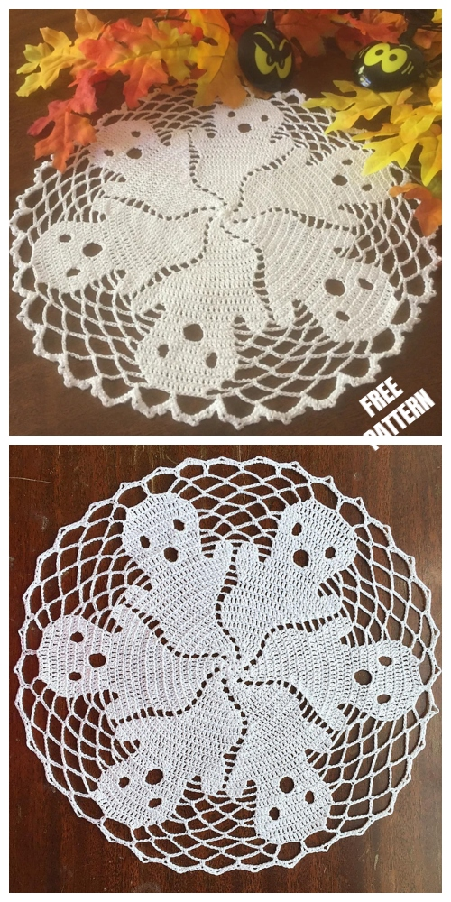 Crochet Halloween Ghost Doily Free Crochet Pattern