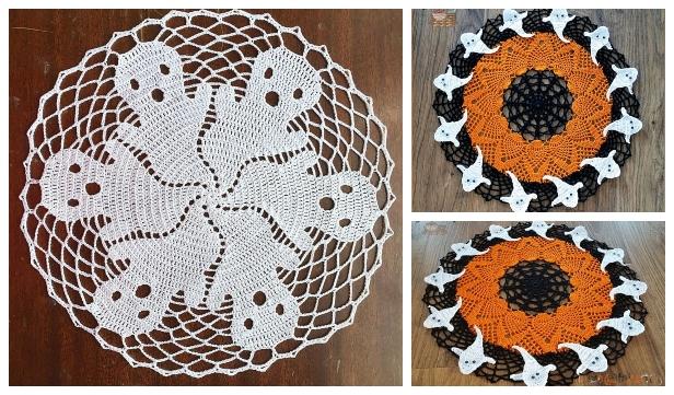 Crochet Halloween Ghost Doily Free Crochet Pattern