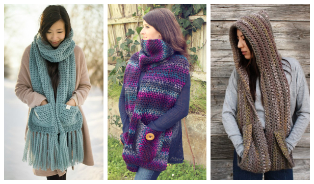 Pocket Scarf/Shawl Free Crochet Pattern & Paid