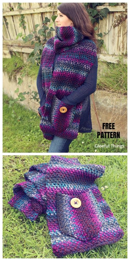 Pocket Amethyst Scarf FREE Crochet Pattern