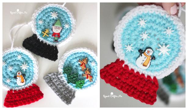 Snowglobe Ornaments Free Crochet Pattern + Video