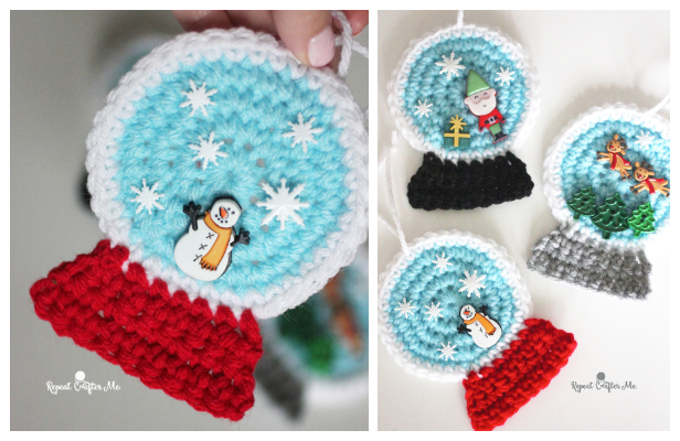 Snowglobe Ornaments Free Crochet Pattern + Video