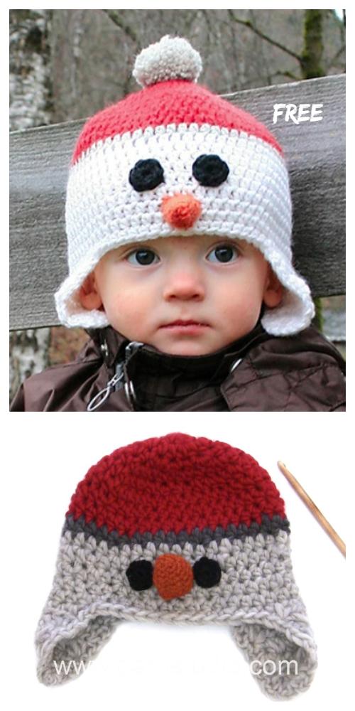Winter Carrot Nose Snowman Hat Free Crochet Patterns + Video