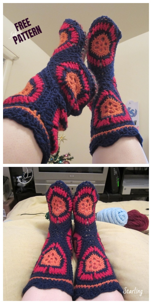 Crochet Hexagon Boots (Starling's Lazy Version) Free Pattern