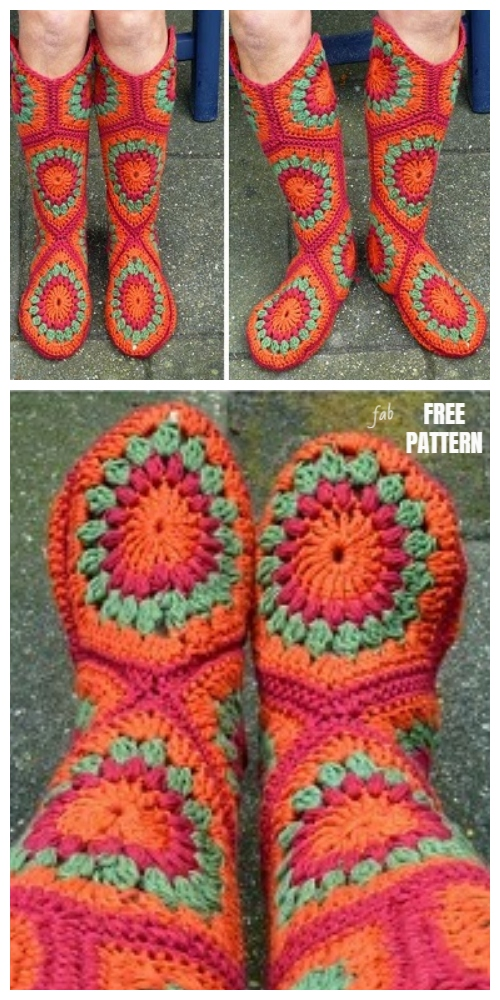 Women Hexagon Slipper Boots Free Crochet Patterns
