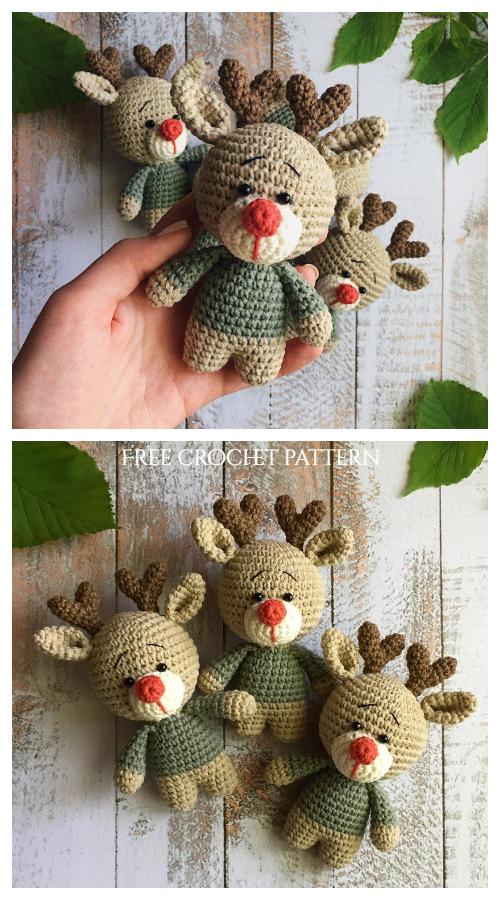 Christmas Crochet Mini Reindeer Amigurumi Free Patterns