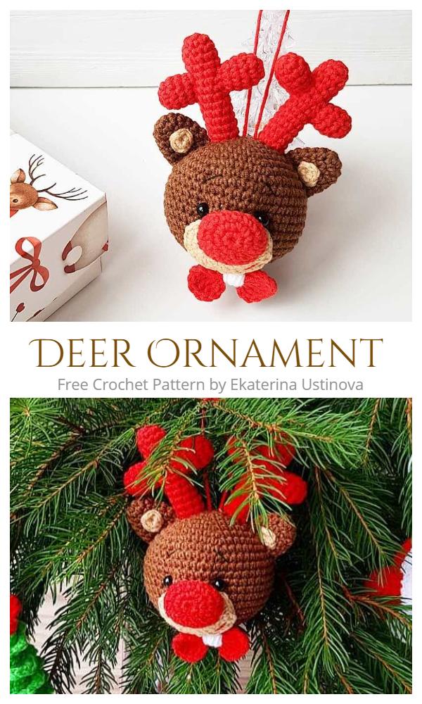 Christmas Crochet Deer Ornament Amigurumi Free Patterns
