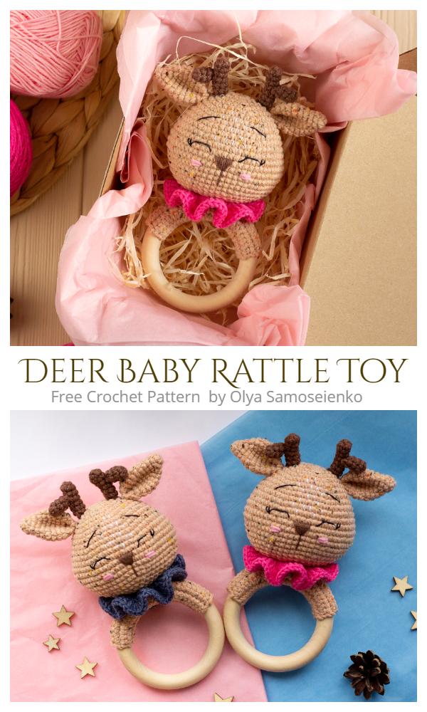 Christmas Crochet Deer Baby Rattle Toy Amigurumi Free Patterns