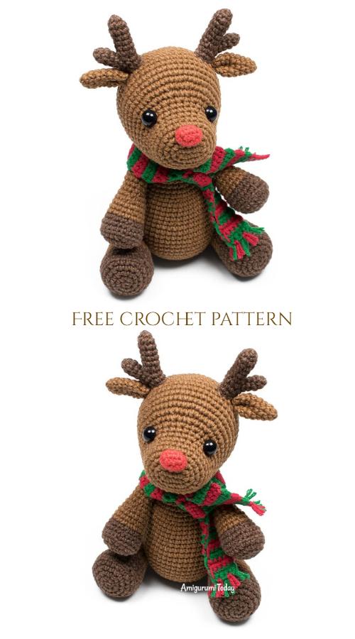Christmas Crochet Deer Rudolph Amigurumi Free Patterns