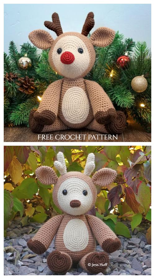 12 Christmas Crochet Reindeer Amigurumi Free Patterns & Paid