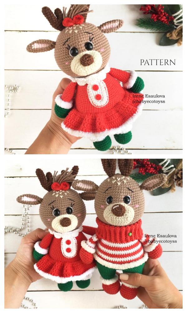 Christmas Stuffed Reindeer Amigurumi Crochet Patterns