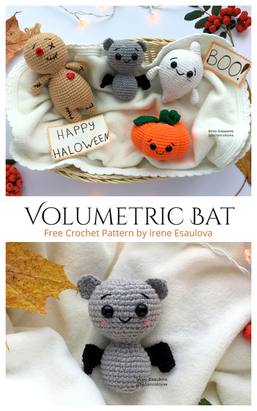 Crochet Volumetric Halloween Bat Amigurumi Free Patterns