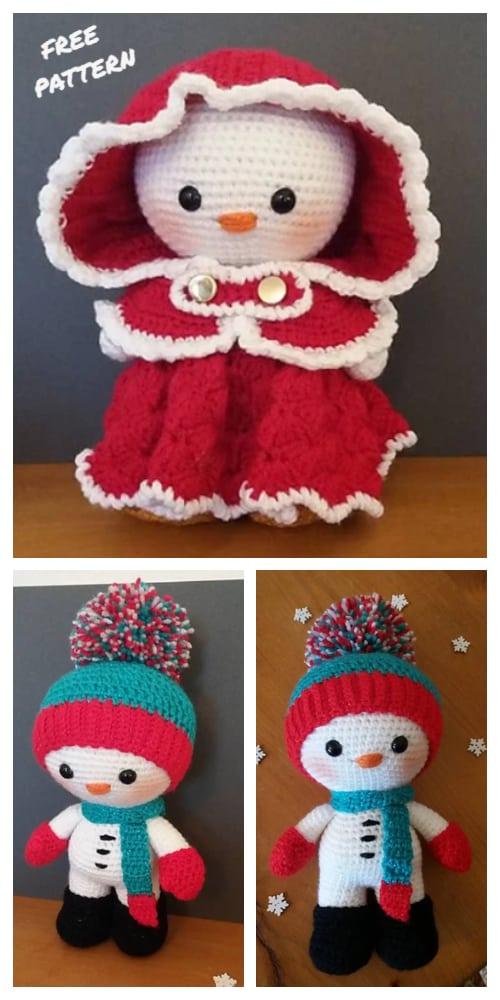 Amigurumi Weebee Doll Snowman Free Crochet Patterns