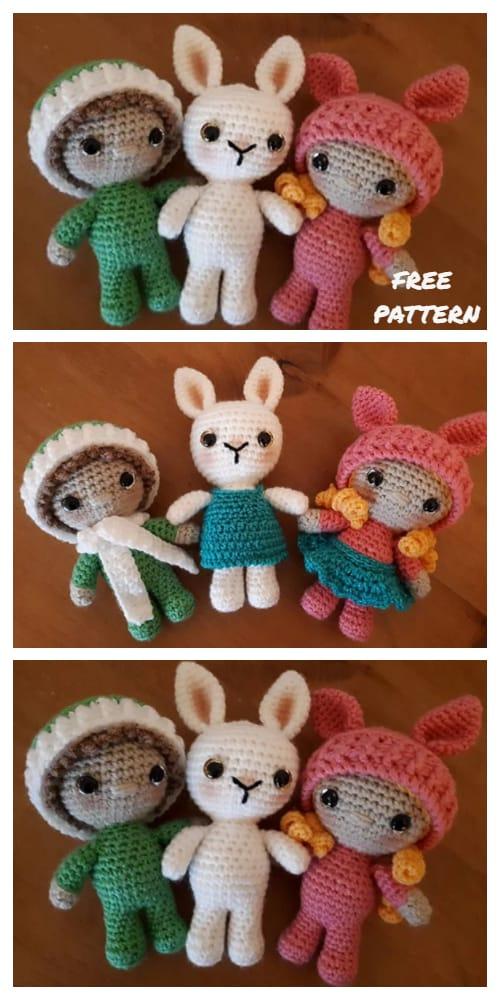 Amigurumi Little Weebee Bunny Dolls Free Crochet Patterns