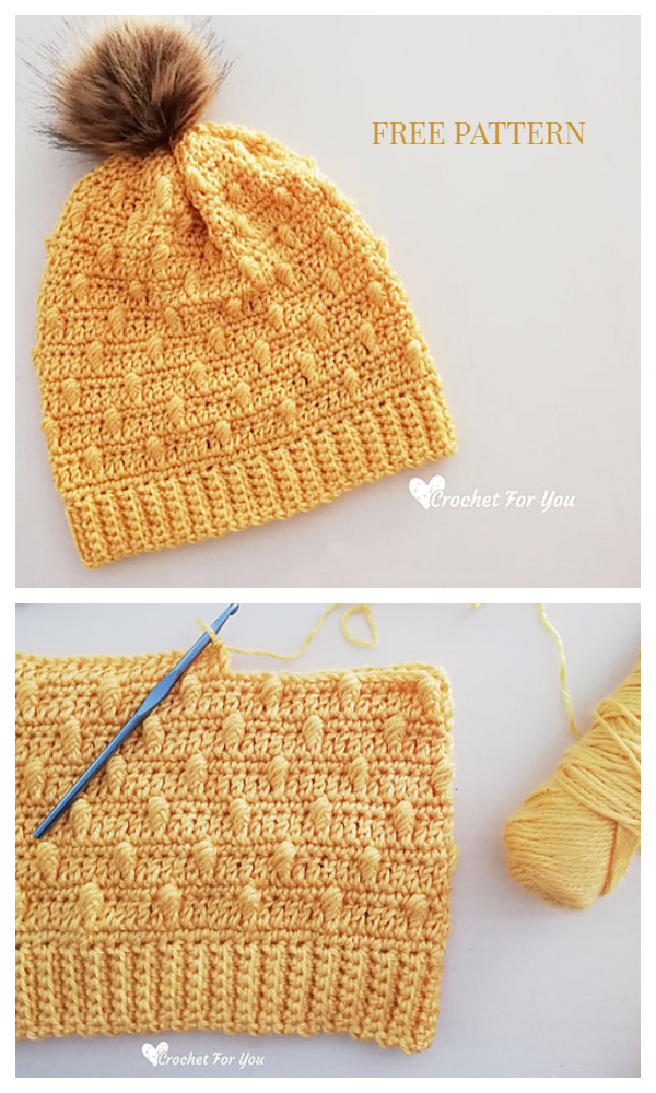 Bobble Drops Pompom Hat Free Crochet Patterns