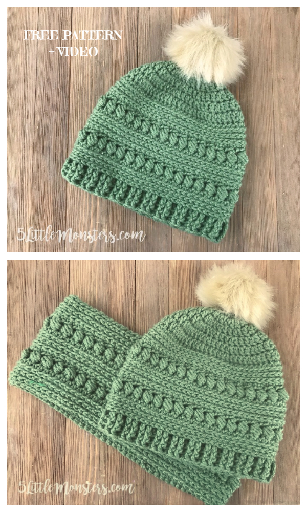 Bead Stitch Beanie Hat Free Crochet Patterns + Video