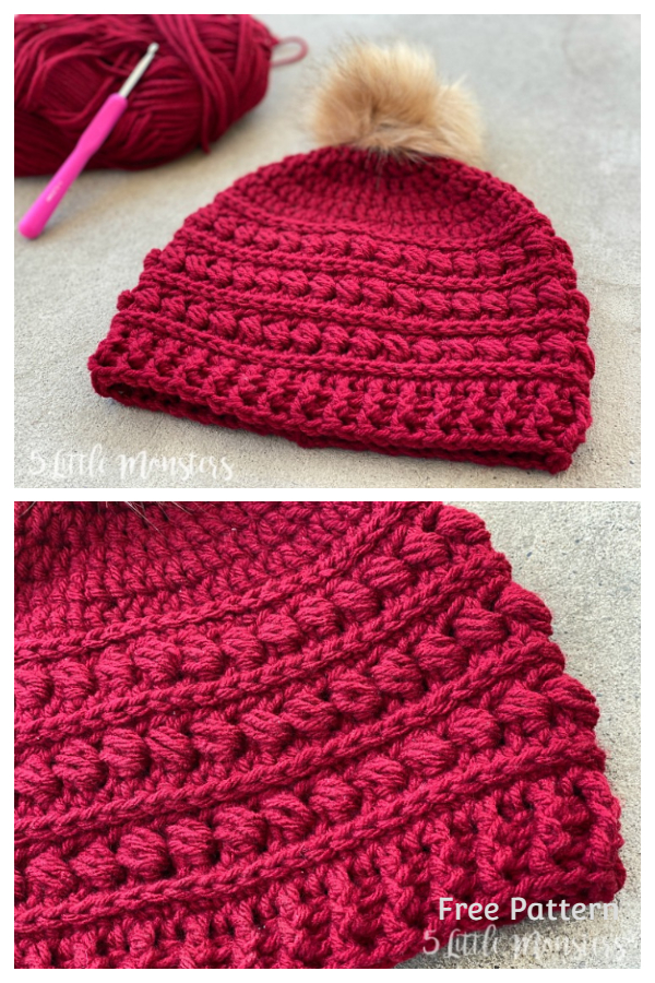 String of Bead Stitch Beanie Hat Free Crochet Patterns