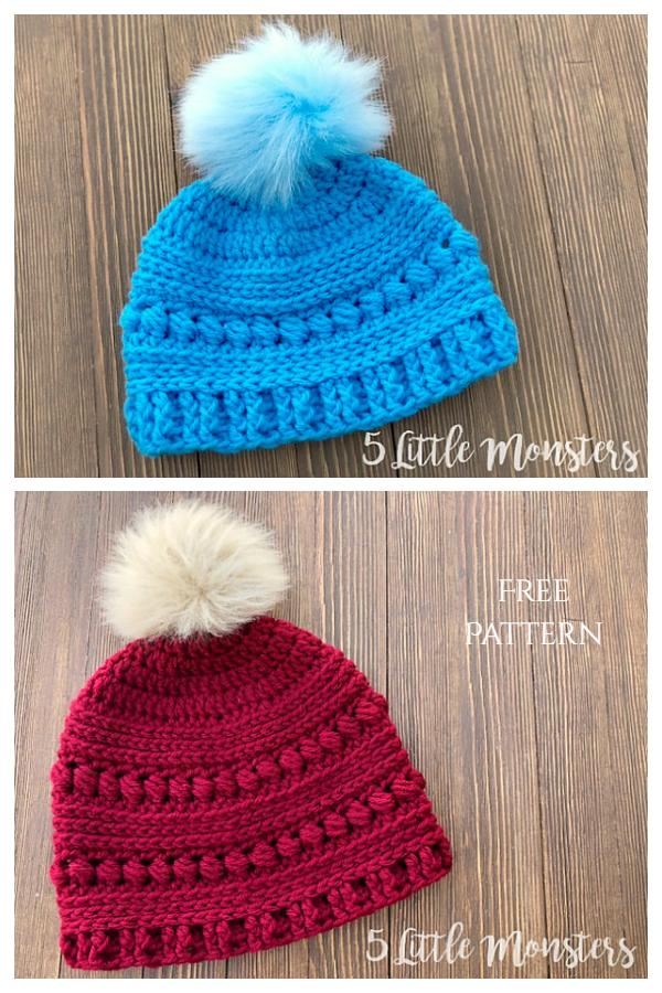 Child Bead Stitch Beanie Hat Free Crochet Patterns + Video