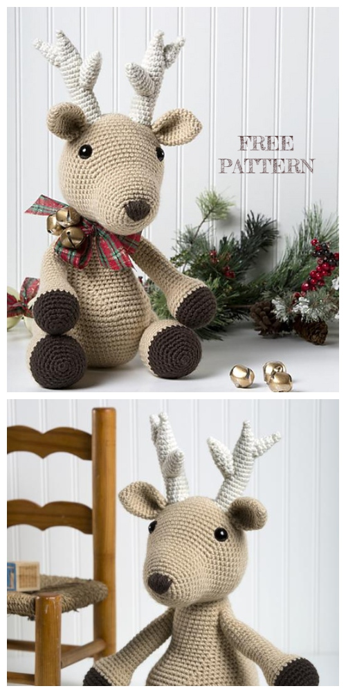 Christmas Crochet Bucky the Reindeer Amigurumi Free Patterns