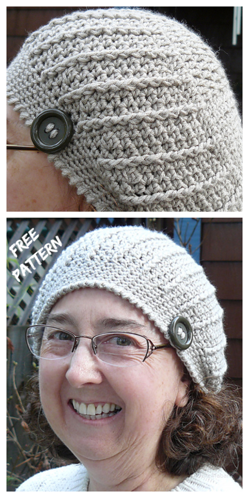 Slouchy Diagonal Chemo Beanie Hat Free Crochet Patterns