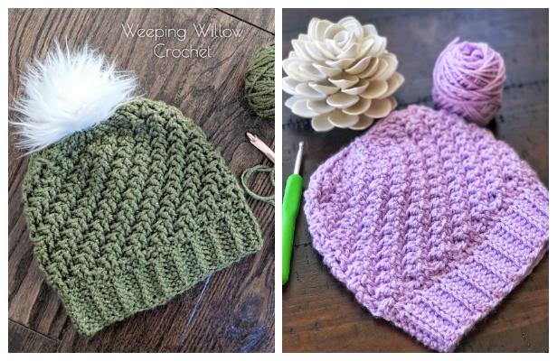 Diagonal Raised Beanie Hat Free Crochet Pattern