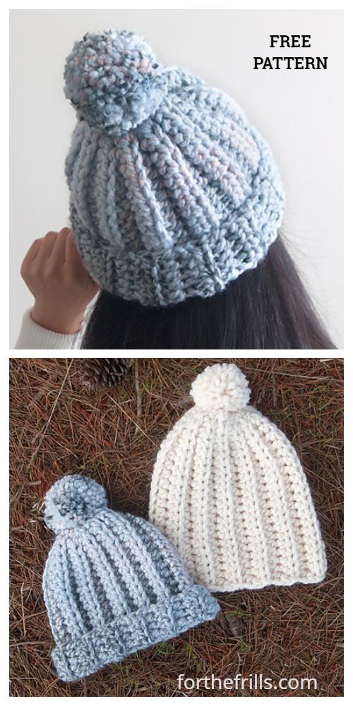 Beginner Easy 1-Hour Chunky Beanie Hat Free Crochet Pattern + Video