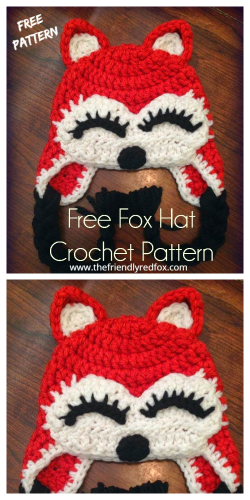 Crochet Fox Hat Free  Crochet Pattern