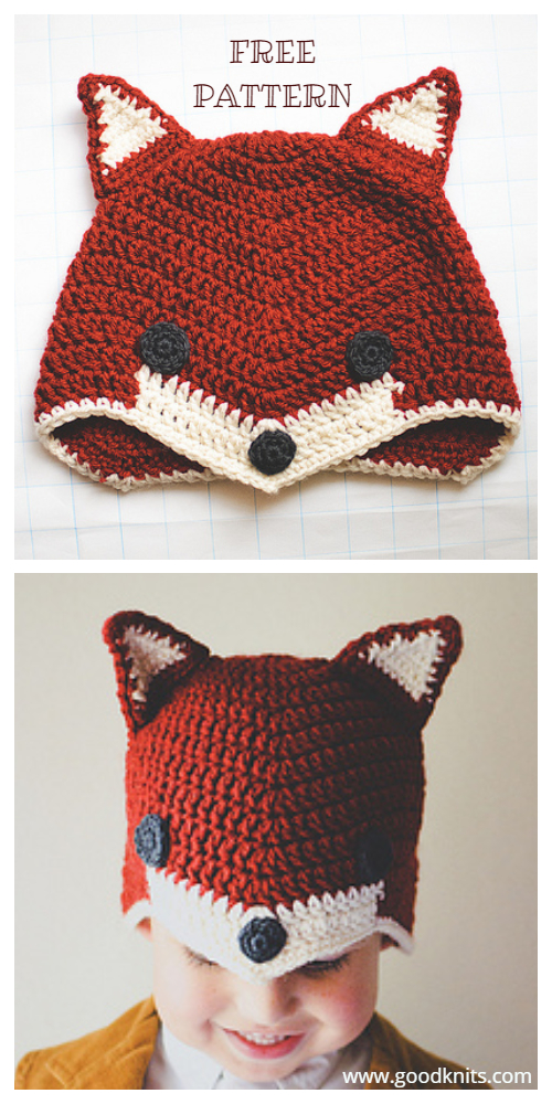 Crochet Sly Fox Hat Free  Crochet Pattern