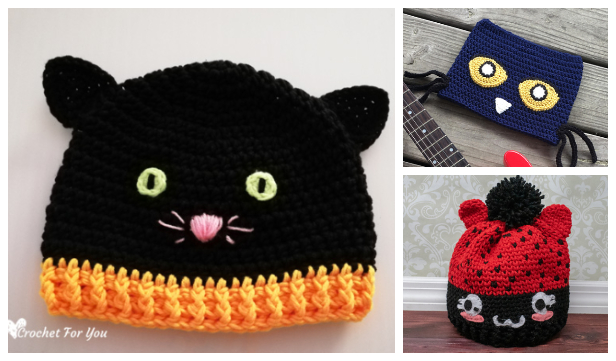 Halloween Black Cat Hat Free Crochet Patterns