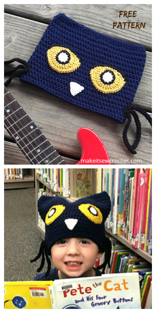 Pete the Cat Costume Hat Free Crochet Patterns