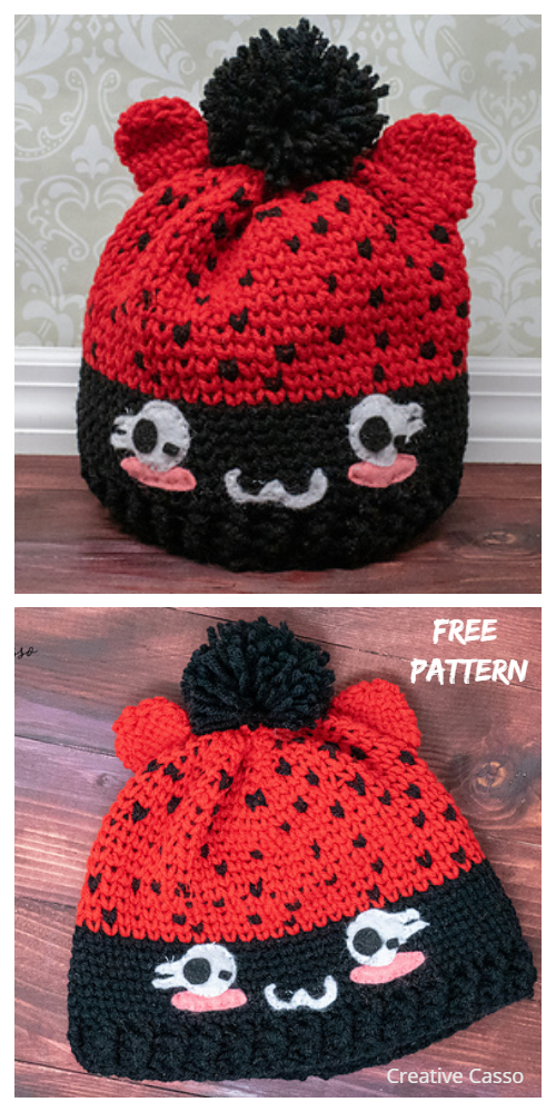Lady Bug Cat Beanie Hat Free Crochet Patterns