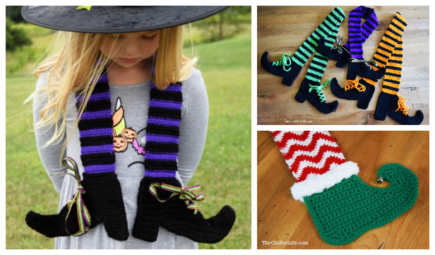 Halloween Witch Legs Scarf Free Crochet Patterns