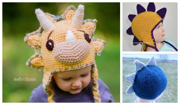 7 Kids Dinosaur Hat Free Crochet Patterns + Paid