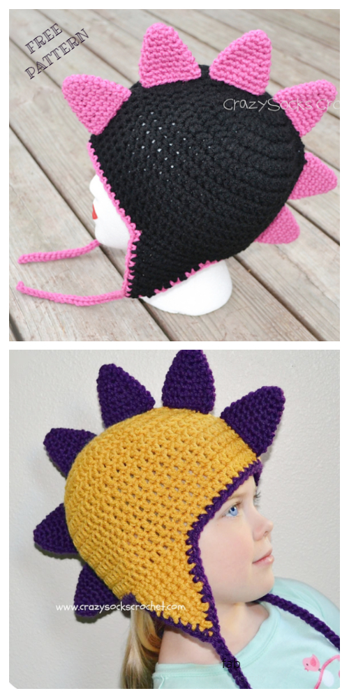 Kids Dinosaur Spikes Hat Free Crochet Patterns