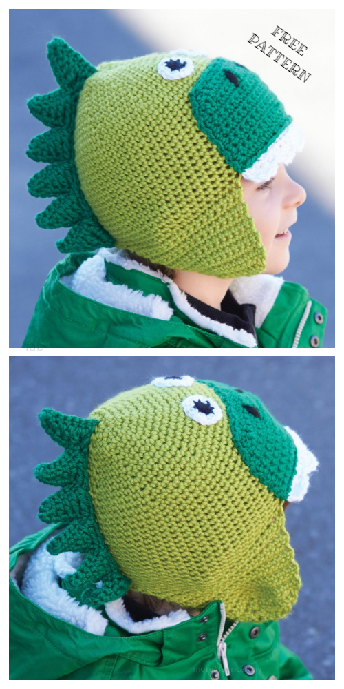 Kids Hatosaurus Dinosaur Hat Free Crochet Patterns