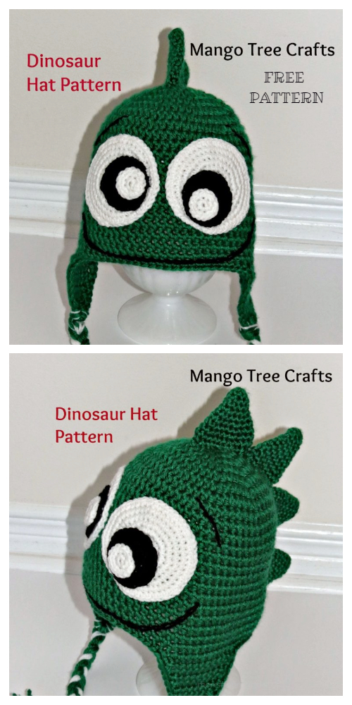 Kids Friendly Dinosaur Hat Free Crochet Patterns
