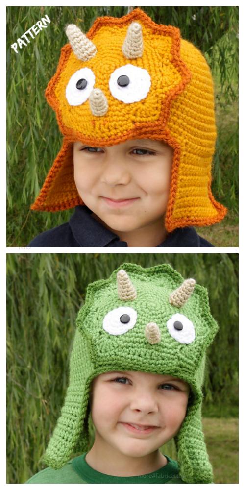 Kids Dinosaur Triceratops Hat Crochet Pattern