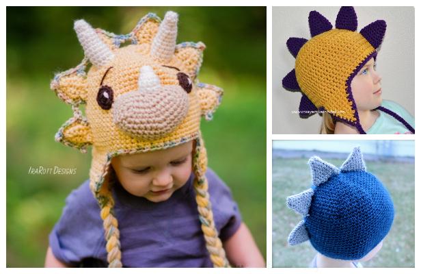 Crochet Triceratops Dinosaur Hat