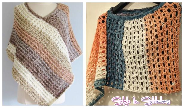 Women Sunset Poncho Free Crochet Patterns