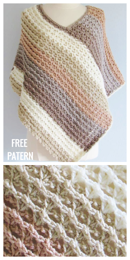 Easy Textured Sunset Poncho Free Crochet Pattern