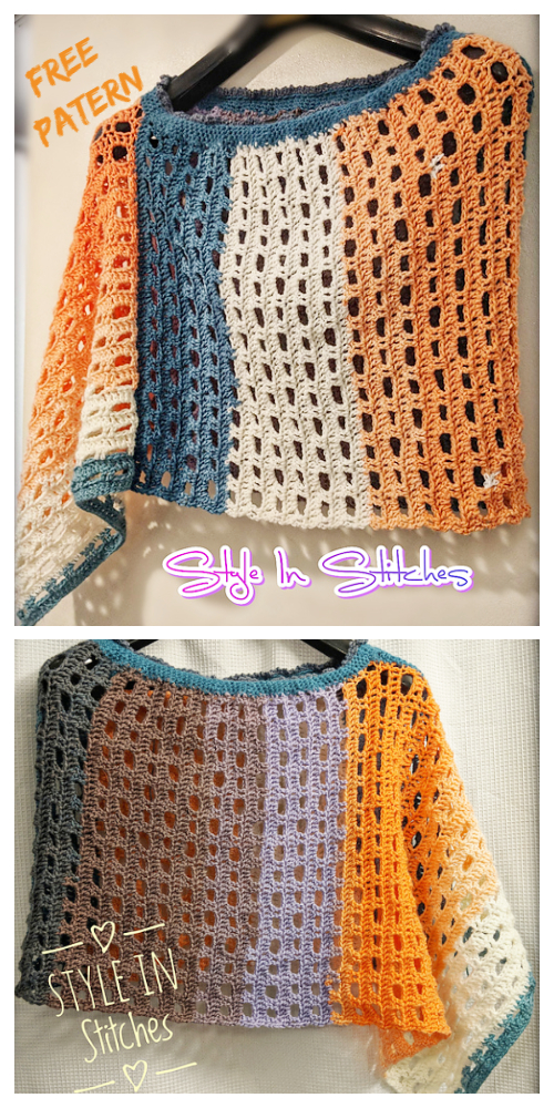 Easy Lace Sunset Poncho Free Crochet Pattern