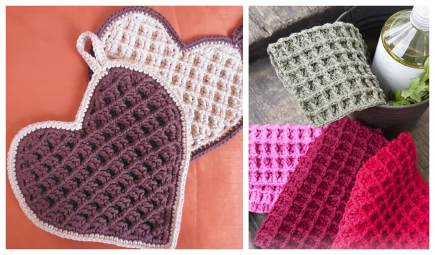 Christmas Shine Waffle Stitch Dishcloth Free Crochet Patterns