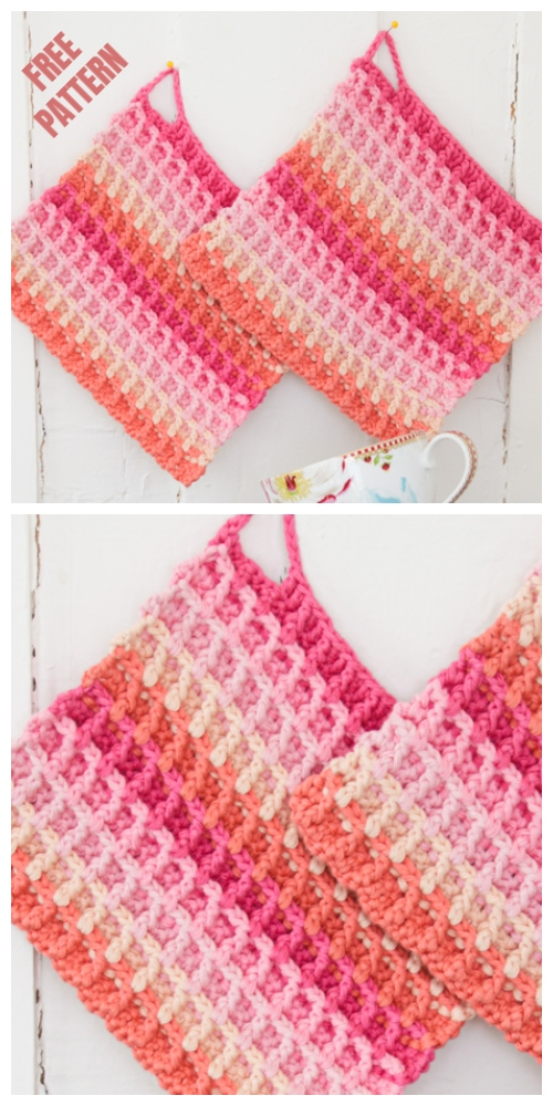 Waffle Rainbow Dishcloth Free Crochet Patterns
