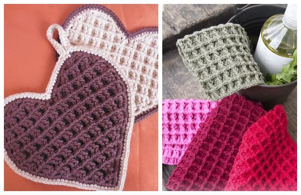 Waffle Stitch Dishcloth Free Crochet Patterns