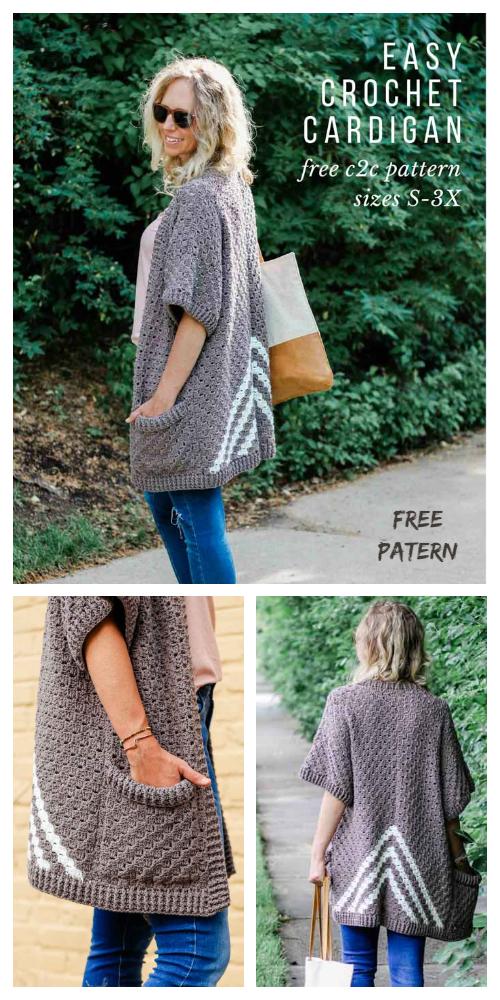 Crochet Women Cascading Kimono Cardigan Free Crochet Pattern