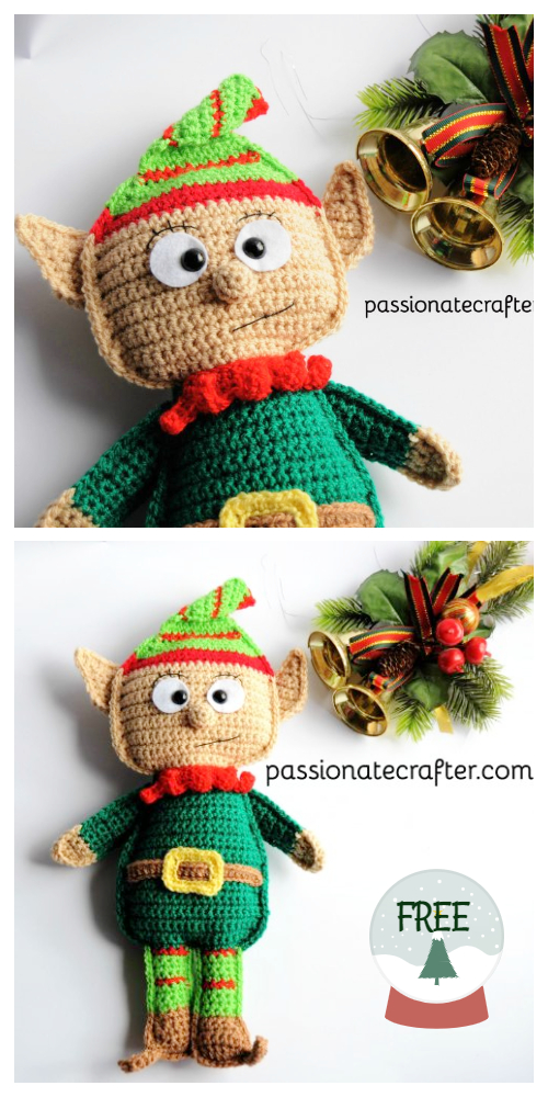 Amigurumi Christmas Santa' s elf Jingle Doll Free Crochet Patterns