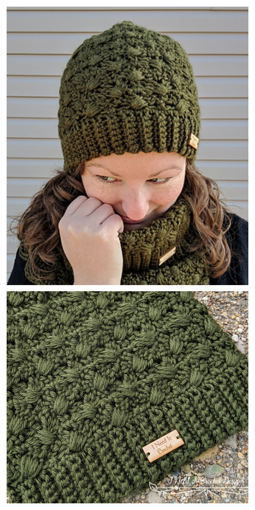 Amphitrite Slouch Hat Cowl Set Free Crochet Patterns